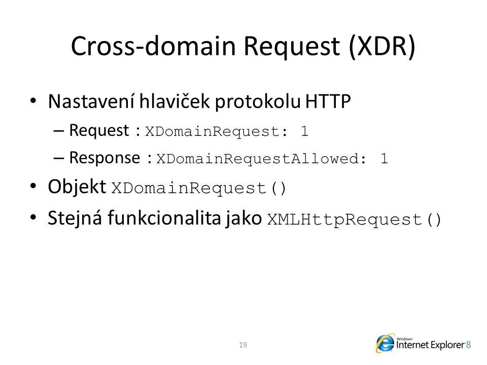 Cross-domain Request (XDR) Nastavení hlaviček protokolu HTTP – Request : XDomainRequest: 1 – Response : XDomainRequestAllowed: 1 Objekt XDomainRequest() Stejná funkcionalita jako XMLHttpRequest() 19