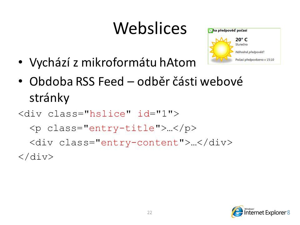 Webslices Vychází z mikroformátu hAtom Obdoba RSS Feed – odběr části webové stránky … 22