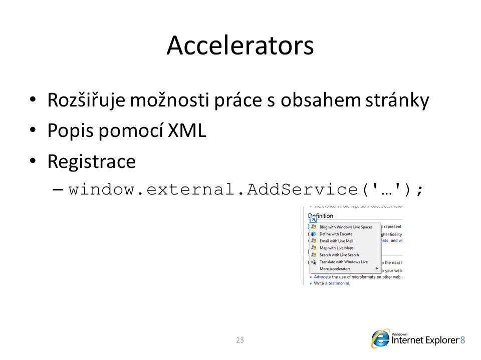 Accelerators Rozšiřuje možnosti práce s obsahem stránky Popis pomocí XML Registrace – window.external.AddService( … ); 23