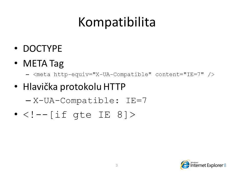 Kompatibilita DOCTYPE META Tag – Hlavička protokolu HTTP – X-UA-Compatible: IE=7 3