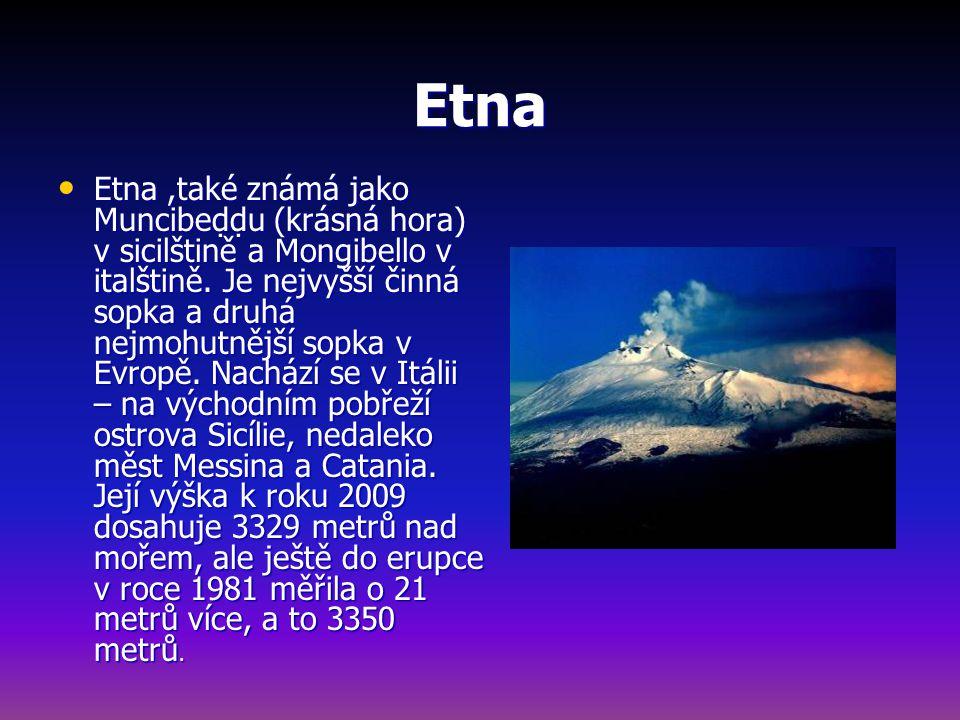 Etna Etna,také známá jako Muncibeḍḍu (krásná hora) v sicilštině a Mongibello v italštině.