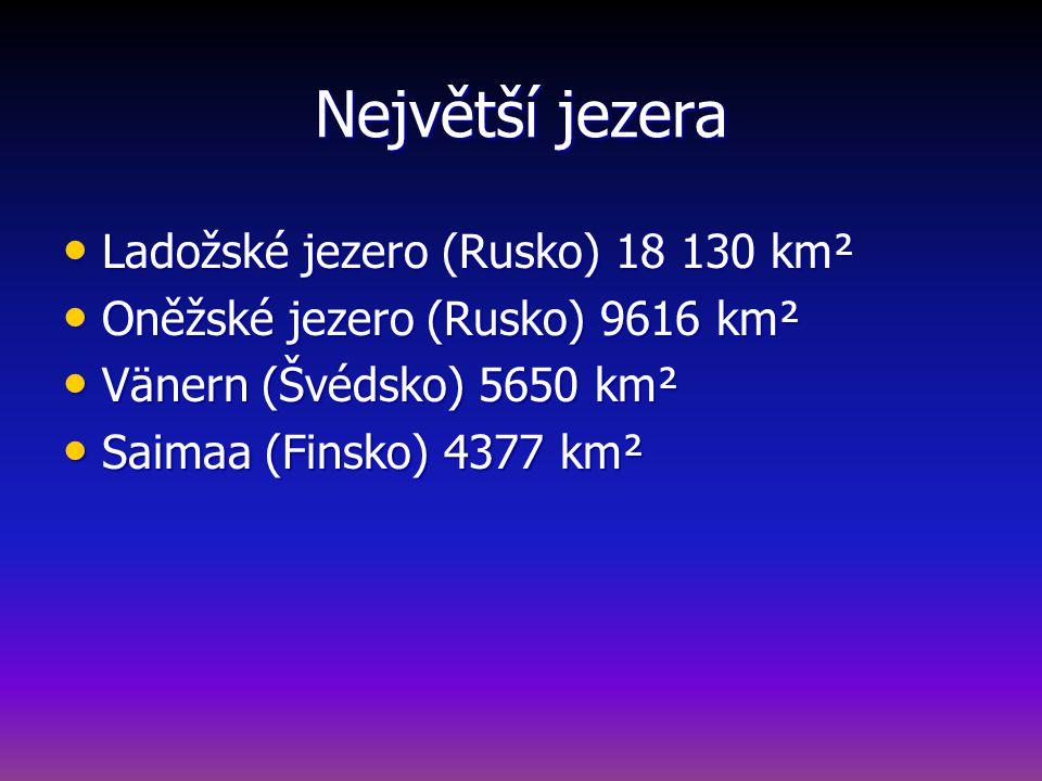 Největší jezera Ladožské jezero (Rusko) 18 130 km² Ladožské jezero (Rusko) 18 130 km² Oněžské jezero (Rusko) 9616 km² Oněžské jezero (Rusko) 9616 km² Vänern (Švédsko) 5650 km² Vänern (Švédsko) 5650 km² Saimaa (Finsko) 4377 km² Saimaa (Finsko) 4377 km²