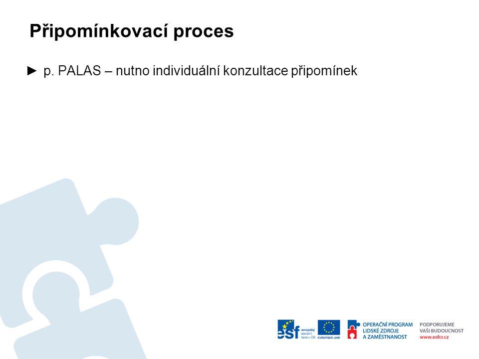 Připomínkovací proces ►p. PALAS – nutno individuální konzultace připomínek