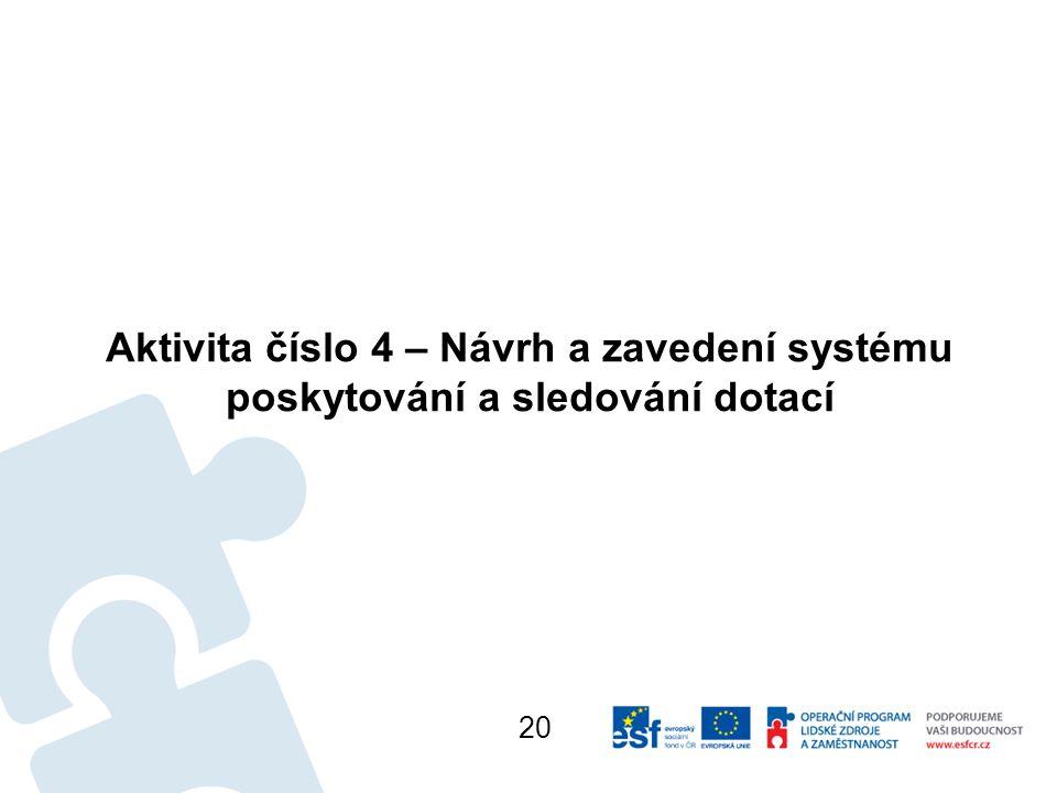 Aktivita číslo 4 – Návrh a zavedení systému poskytování a sledování dotací 20
