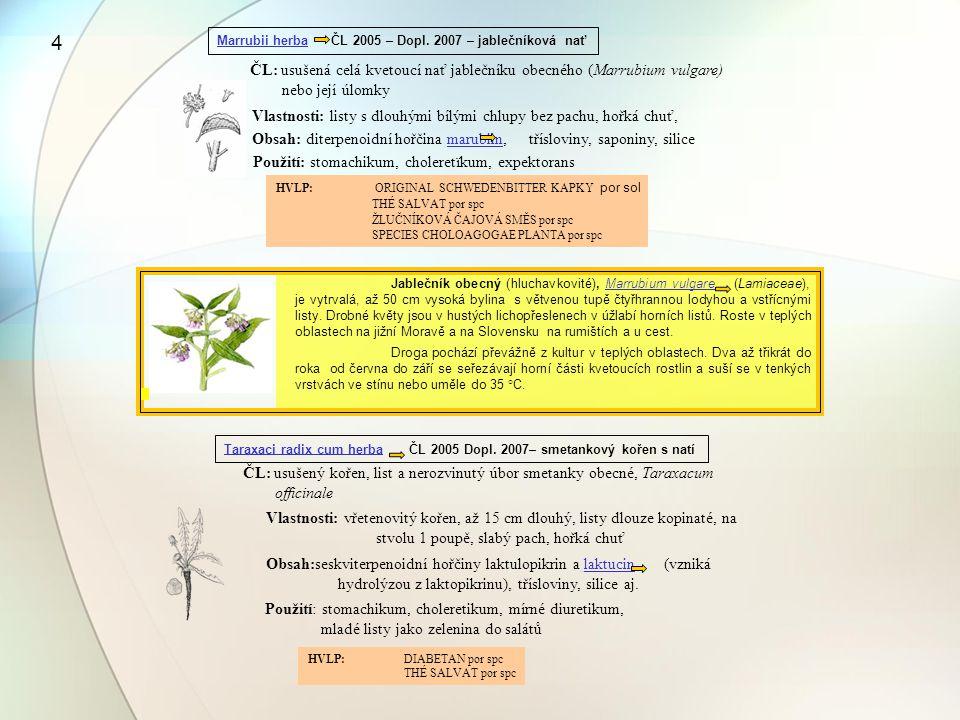 Marrubii herba ČL 2005 – Dopl. 2007 – jablečníková nať ČL: usušená celá kvetoucí nať jablečníku obecného (Marrubium vulgare) nebo její úlomky Vlastnos