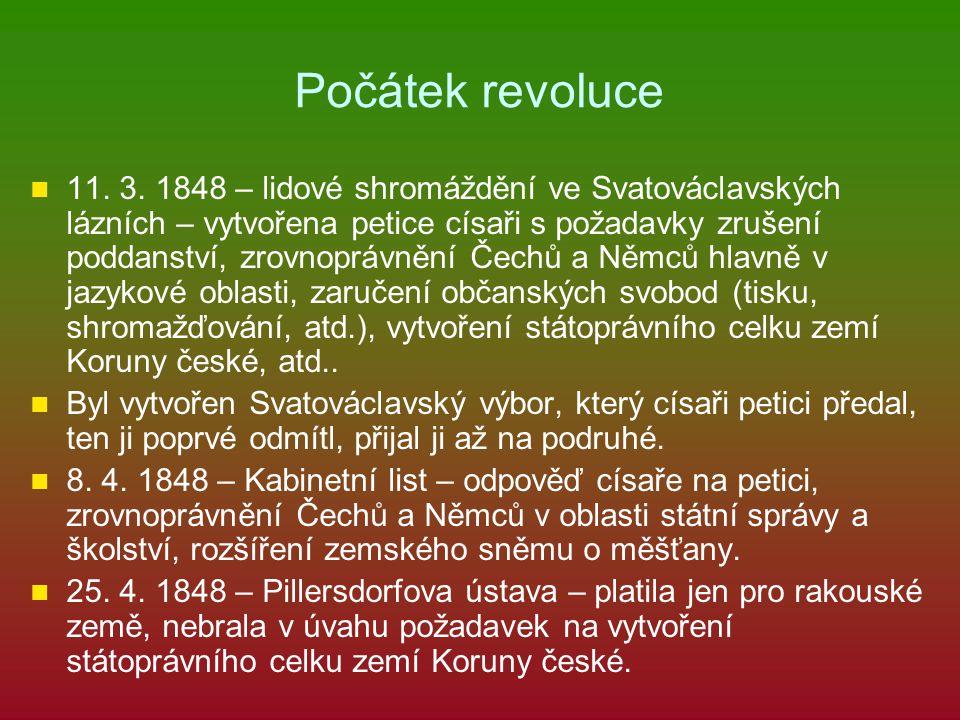 Počátek revoluce 11. 3. 1848 – lidové shromáždění ve Svatováclavských lázních – vytvořena petice císaři s požadavky zrušení poddanství, zrovnoprávnění