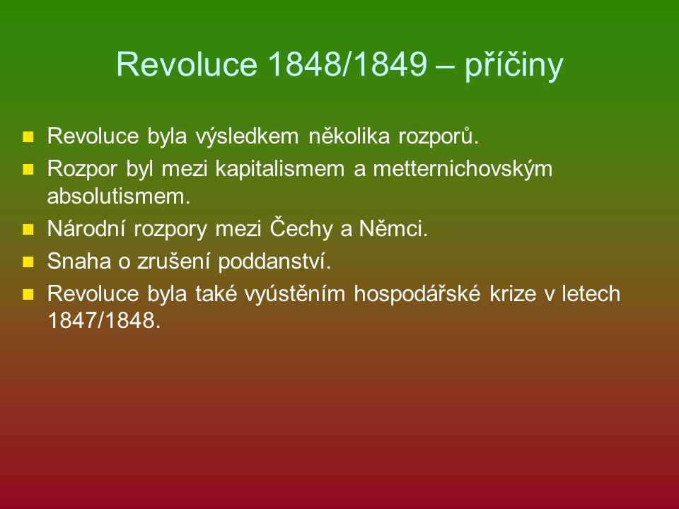 Revoluce 1848/1849 – příčiny Revoluce byla výsledkem několika rozporů. Rozpor byl mezi kapitalismem a metternichovským absolutismem. Národní rozpory m