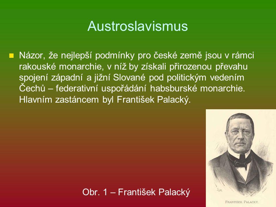 Austroslavismus Názor, že nejlepší podmínky pro české země jsou v rámci rakouské monarchie, v níž by získali přirozenou převahu spojení západní a jižn