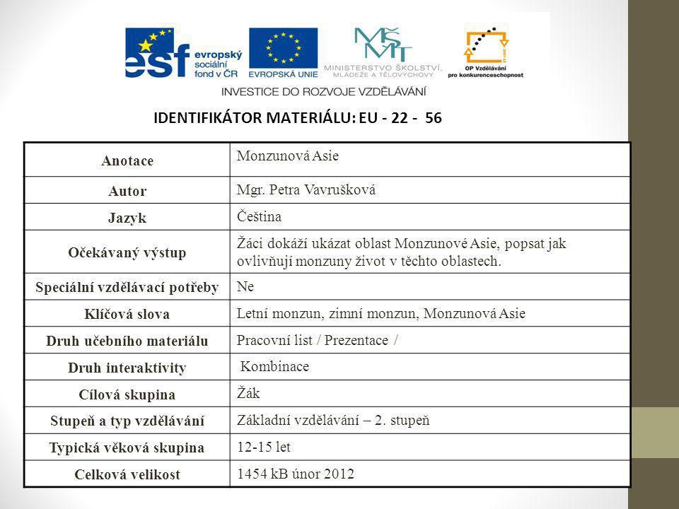 IDENTIFIKÁTOR MATERIÁLU: EU - 22 - 56 Anotace Monzunová Asie Autor Mgr. Petra Vavrušková Jazyk Čeština Očekávaný výstup Žáci dokáží ukázat oblast Monz