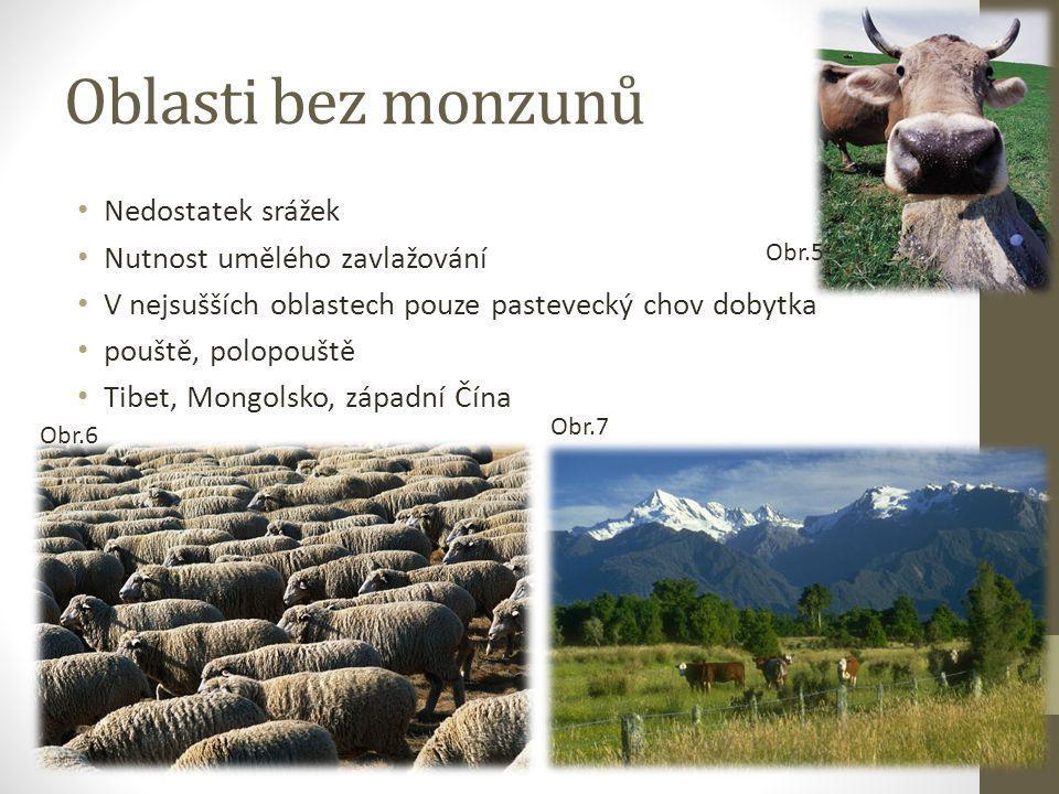 Oblasti bez monzunů Nedostatek srážek Nutnost umělého zavlažování V nejsušších oblastech pouze pastevecký chov dobytka pouště, polopouště Tibet, Mongo