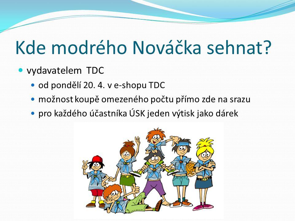 Kde modrého Nováčka sehnat? vydavatelem TDC od pondělí 20. 4. v e-shopu TDC možnost koupě omezeného počtu přímo zde na srazu pro každého účastníka ÚSK