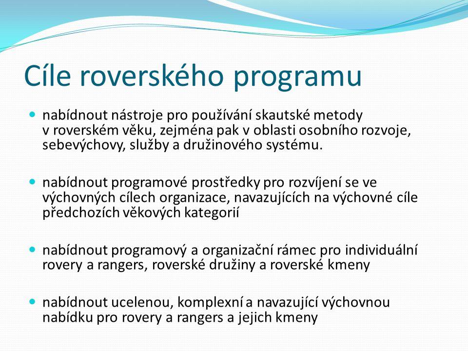 Cíle roverského programu nabídnout nástroje pro používání skautské metody v roverském věku, zejména pak v oblasti osobního rozvoje, sebevýchovy, služb