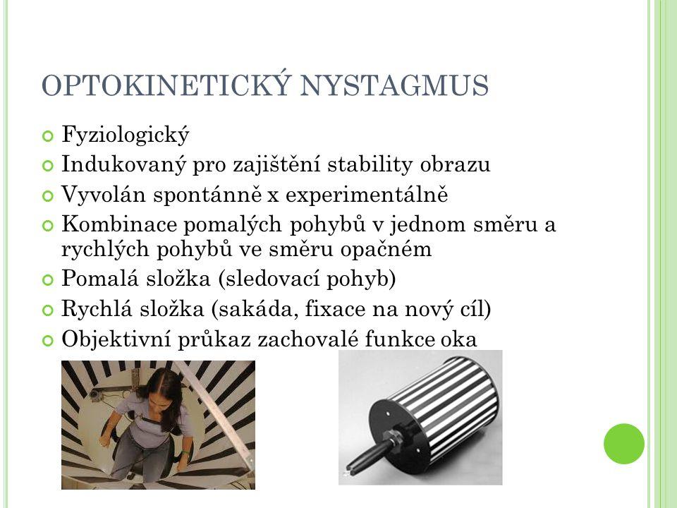 OPTOKINETICKÝ NYSTAGMUS Fyziologický Indukovaný pro zajištění stability obrazu Vyvolán spontánně x experimentálně Kombinace pomalých pohybů v jednom směru a rychlých pohybů ve směru opačném Pomalá složka (sledovací pohyb) Rychlá složka (sakáda, fixace na nový cíl) Objektivní průkaz zachovalé funkce oka