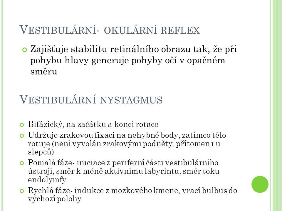 V ESTIBULÁRNÍ NYSTAGMUS Bifázický, na začátku a konci rotace Udržuje zrakovou fixaci na nehybné body, zatímco tělo rotuje (není vyvolán zrakovými podn
