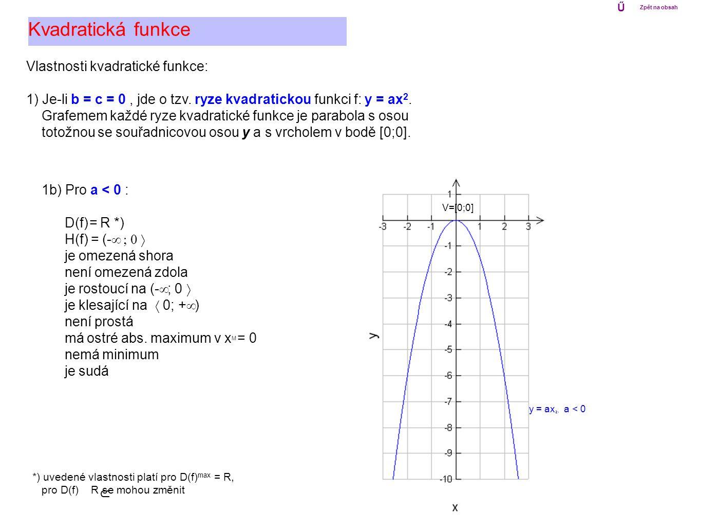 Vlastnosti kvadratické funkce: 1) Je-li b = c = 0, jde o tzv. ryze kvadratickou funkci f: y = ax 2. Grafemem každé ryze kvadratické funkce je parabola