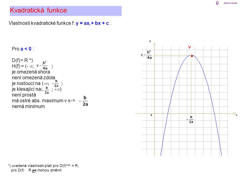 Vlastnosti kvadratické funkce f: y = ax 2 + bx + c : Kvadratická funkce Pro a < 0 : D(f) = R *) H(f) = (-  ; ´  je omezená shora není omezená zdola
