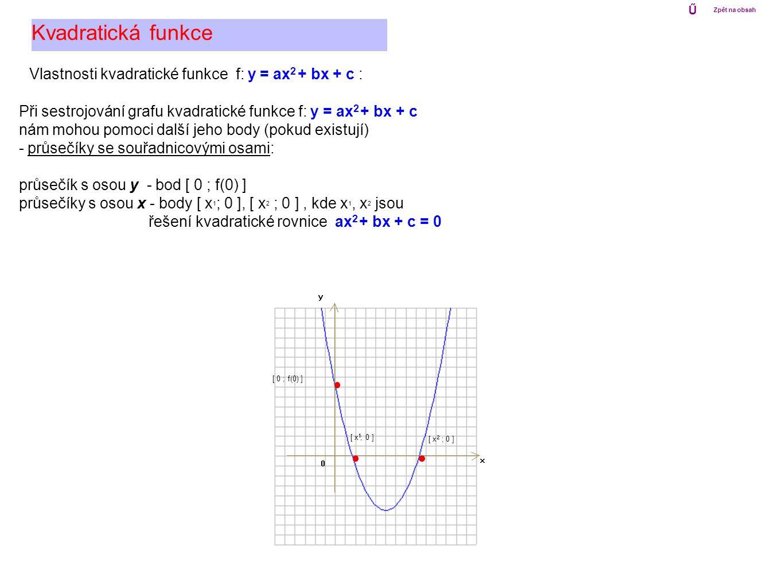 Vlastnosti kvadratické funkce f: y = ax 2 + bx + c : Kvadratická funkce Při sestrojování grafu kvadratické funkce f: y = ax 2 + bx + c nám mohou pomoc