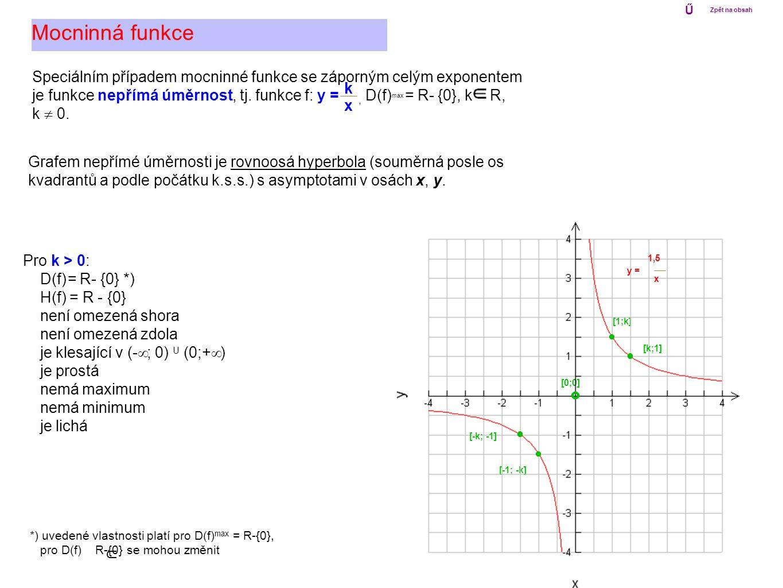 Speciálním případem mocninné funkce se záporným celým exponentem je funkce nepřímá úměrnost, tj. funkce f: y =, D(f) max = R- {0}, k R, k  0. Mocnin