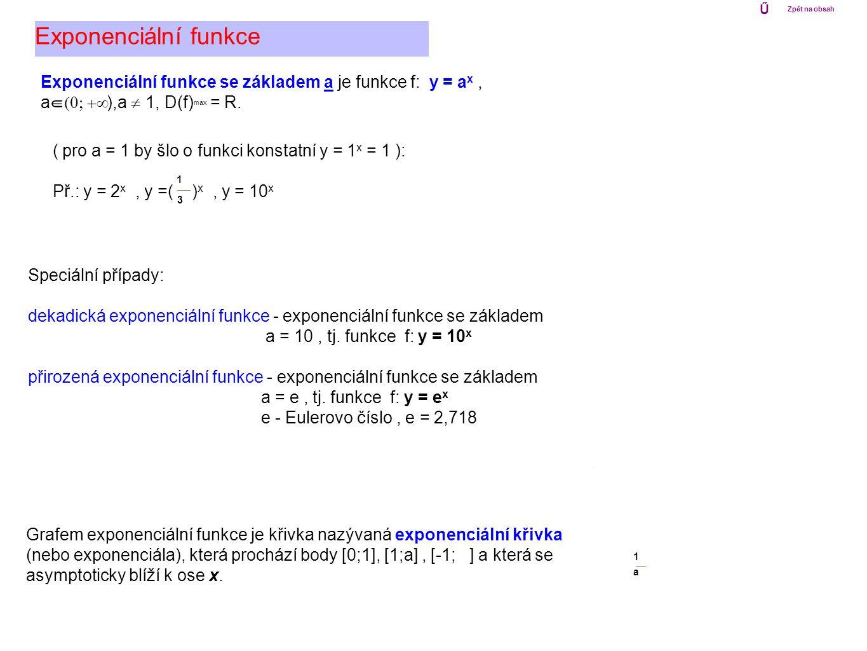 Exponenciální funkce se základem a je funkce f: y = a x, a  ),a  1, D(f) max = R. Grafem exponenciální funkce je křivka nazývaná exponenciální
