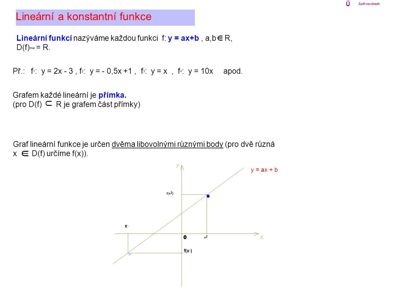 Lineární a konstantní funkce Lineární funkcí nazýváme každou funkci f: y = ax+b, a,b R, D(f) max = R. Grafem každé lineární je přímka. (pro D(f) R je