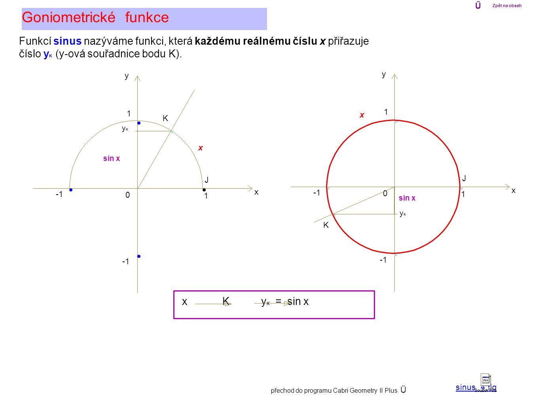 0 1 x y 1 0 1 x y 1 Goniometrické funkce Ű Zpět na obsah x K J Funkcí sinus nazýváme funkci, která každému reálnému číslu x přiřazuje číslo y K (y-ová