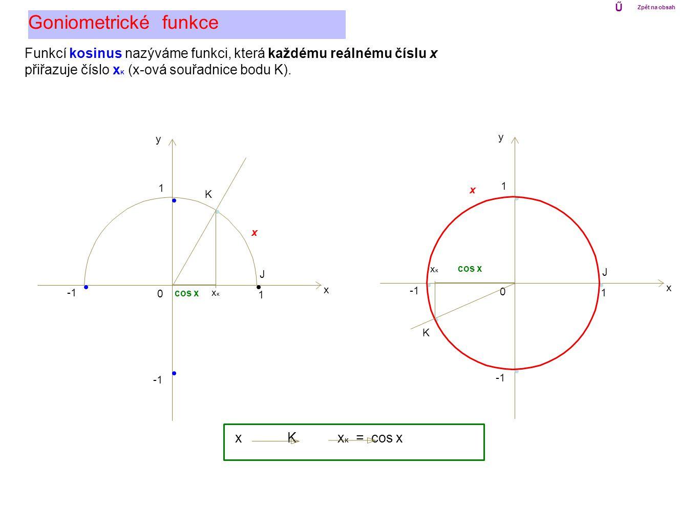 0 1 x y 1 0 1 x y 1 Goniometrické funkce Ű Zpět na obsah x K J Funkcí kosinus nazýváme funkci, která každému reálnému číslu x přiřazuje číslo x K (x-o