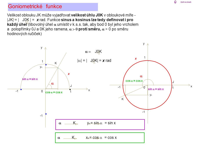 0 1 x y 1 0 1 x y 1 Goniometrické funkce Ű Zpět na obsah x K J Velikost oblouku JK může vyjadřovat velikost úhlu J0K v obloukové míře - |JK| = | J0K |