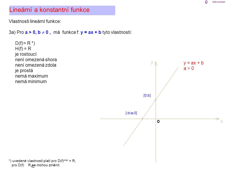Vlastnosti lineární funkce: 3b) Pro a < 0, b  0, má funkce f: y = ax + b tyto vlastnosti: D(f) = R H(f) = R je klesající není omezená shora není omezená zdola je prostá nemá maximum nemá minimum Lineární a konstantní funkce y = ax + b a < 0 *) uvedené vlastnosti platí pro D(f) max = R, pro D(f) R se mohou změnit [0;b] [-b/a;0] *) Ű Zpět na obsah