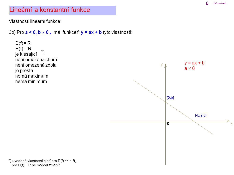 Vlastnosti lineární funkce: 3b) Pro a < 0, b  0, má funkce f: y = ax + b tyto vlastnosti: D(f) = R H(f) = R je klesající není omezená shora není omez