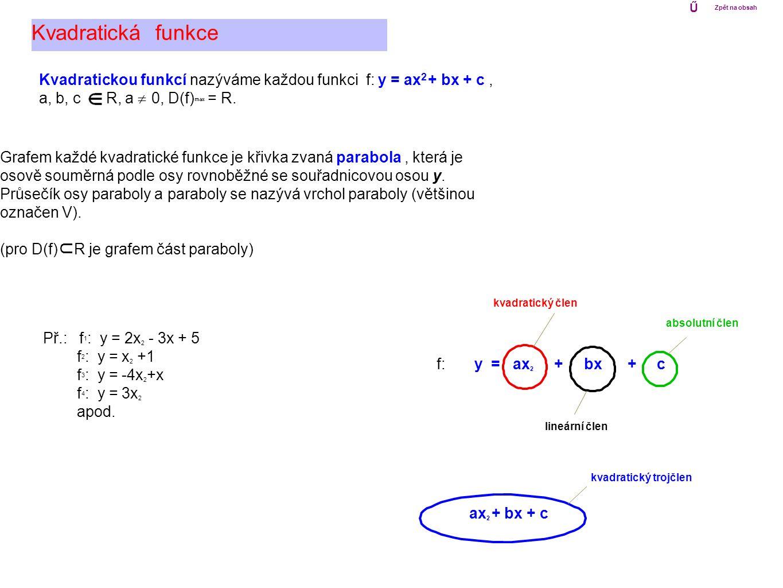 Vlastnosti kvadratické funkce f: y = ax 2 + bx + c : Kvadratická funkce Při sestrojování grafu kvadratické funkce f: y = ax 2 + bx + c nám mohou pomoci další jeho body (pokud existují) - průsečíky se souřadnicovými osami: průsečík s osou y - bod [ 0 ; f(0) ] průsečíky s osou x - body [ x 1 ; 0 ], [ x 2 ; 0 ], kde x 1, x 2 jsou řešení kvadratické rovnice ax 2 + bx + c = 0 x y 0 [ x 1 ; 0 ] [ x 2 ; 0 ] [ 0 ; f(0) ] Ű Zpět na obsah