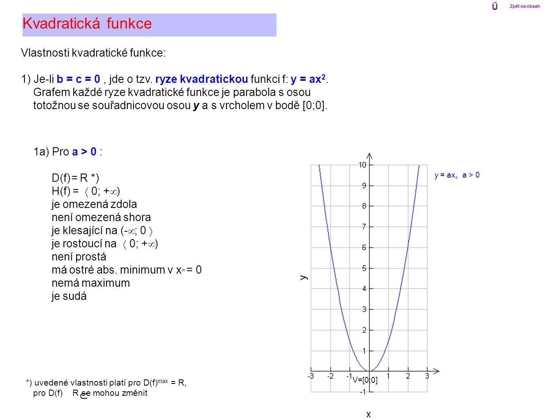 Vlastnosti kvadratické funkce: 1) Je-li b = c = 0, jde o tzv. ryze kvadratickou funkci f: y = ax 2. Grafem každé ryze kvadratické funkce je parabola s