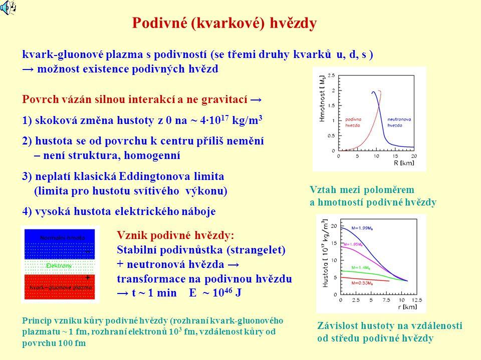 Podivné (kvarkové) hvězdy Závislost hustoty na vzdálenosti od středu podivné hvězdy kvark-gluonové plazma s podivností (se třemi druhy kvarků u, d, s
