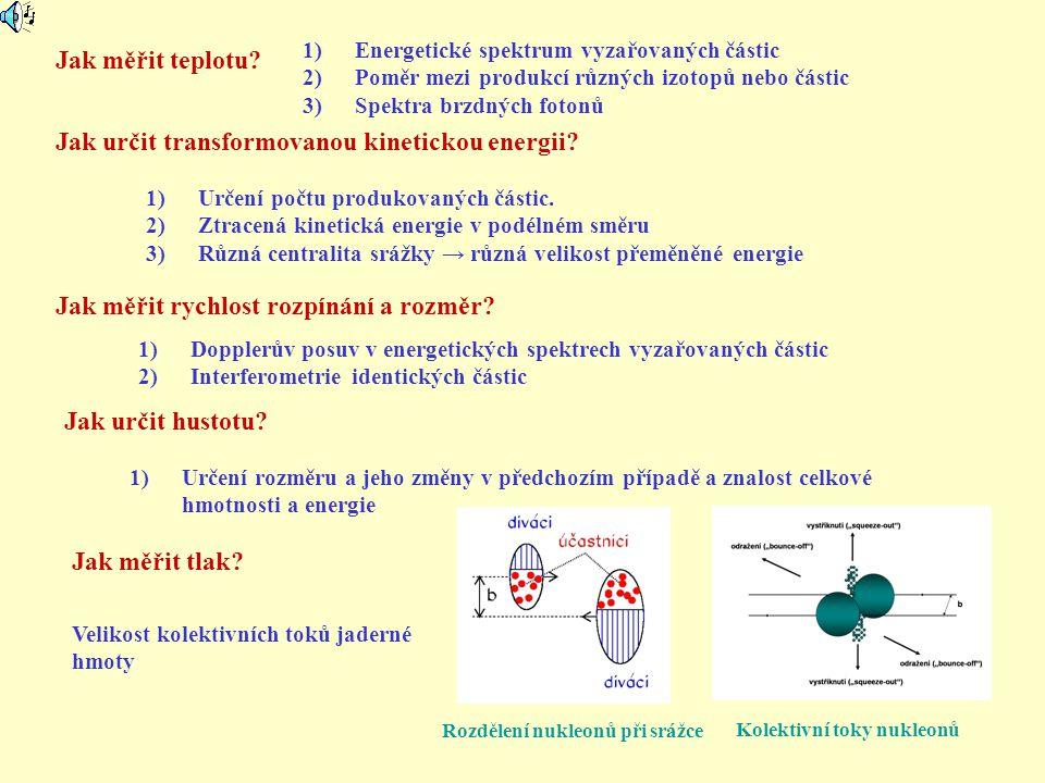 Jak měřit teplotu? Jak měřit tlak? 1)Energetické spektrum vyzařovaných částic 2)Poměr mezi produkcí různých izotopů nebo částic 3)Spektra brzdných fot