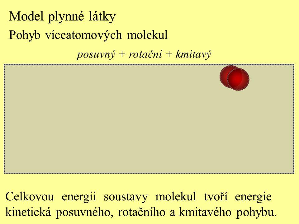 posuvný + rotační + kmitavý Model plynné látky Pohyb víceatomových molekul Celkovou energii soustavy molekul tvoří energie kinetická posuvného, rotačn