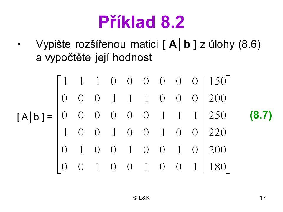 © L&K17 Příklad 8.2 Vypište rozšířenou matici [ A│b ] z úlohy (8.6) a vypočtěte její hodnost [ A│b ] = (8.7)