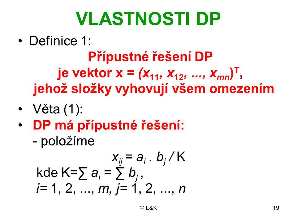 © L&K19 VLASTNOSTI DP Definice 1: Přípustné řešení DP je vektor x = (x 11, x 12,..., x mn ) T, jehož složky vyhovují všem omezením Věta (1): DP má pří