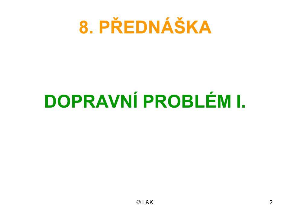 © L&K3 OSNOVA PŘEDNÁŠKY Distribuční problémy Matematický model dopravního problé- mu Duální problém k dopravnímu problému Výchozí řešení: metoda SZR indexní metoda metoda VAM Nevyrovnaný dopravní problém