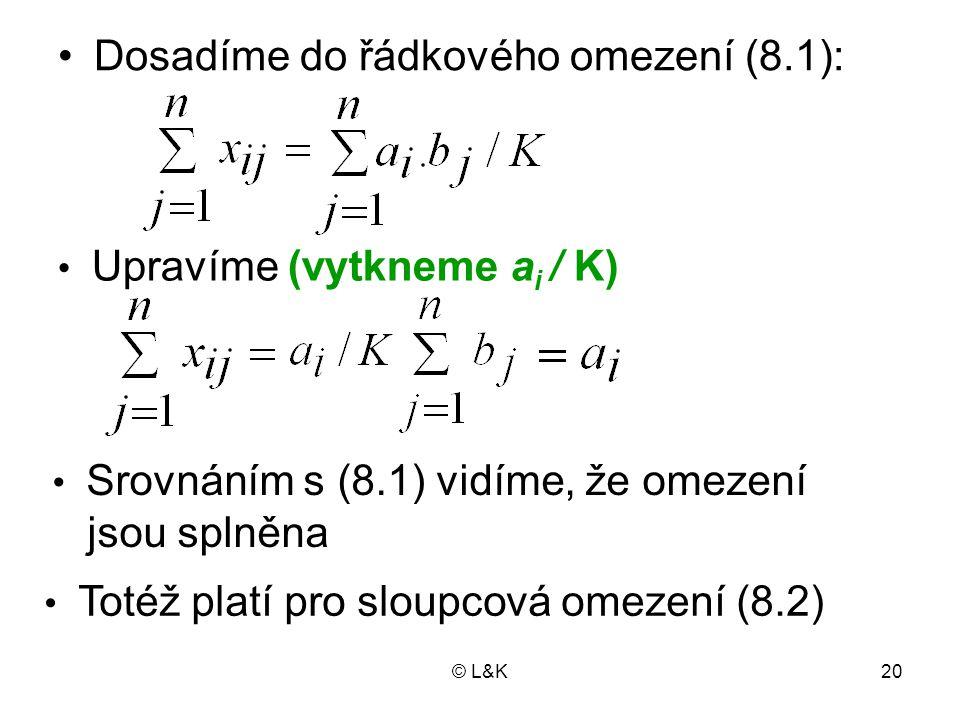 © L&K20 Dosadíme do řádkového omezení (8.1): Upravíme (vytkneme a i / K) Srovnáním s (8.1) vidíme, že omezení jsou splněna Totéž platí pro sloupcová o