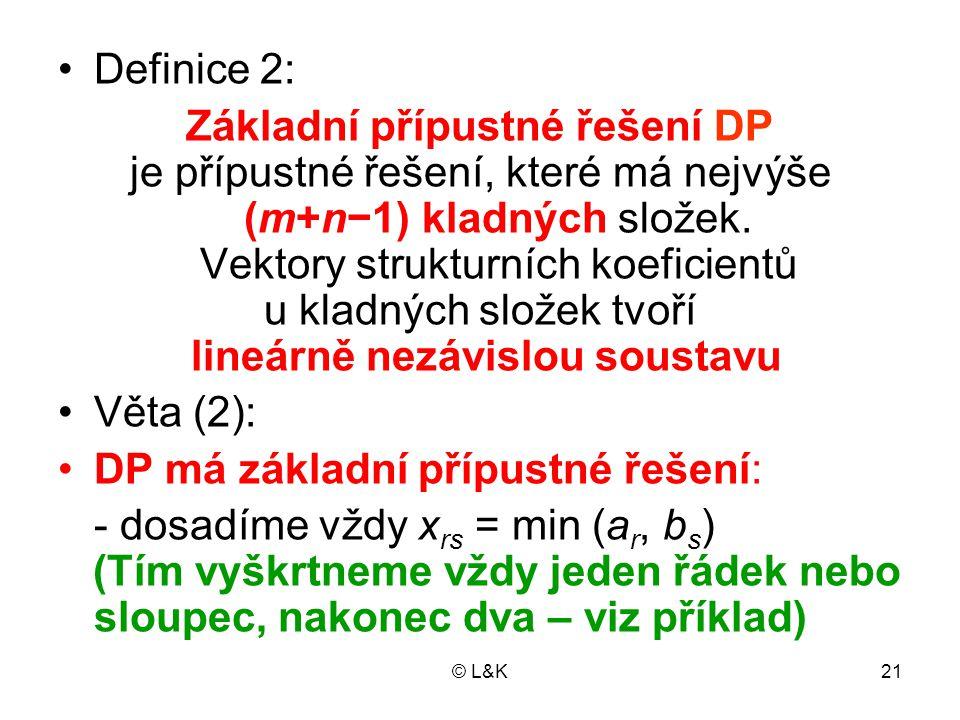 © L&K21 Definice 2: Základní přípustné řešení DP je přípustné řešení, které má nejvýše (m+n−1) kladných složek. Vektory strukturních koeficientů u kla