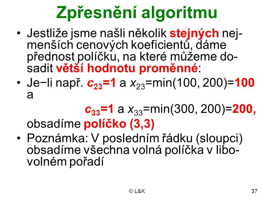 © L&K37 Zpřesnění algoritmu Jestliže jsme našli několik stejných nej- menších cenových koeficientů, dáme přednost políčku, na které můžeme do- sadit v