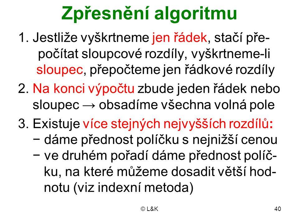 © L&K40 Zpřesnění algoritmu 1. Jestliže vyškrtneme jen řádek, stačí pře- počítat sloupcové rozdíly, vyškrtneme-li sloupec, přepočteme jen řádkové rozd