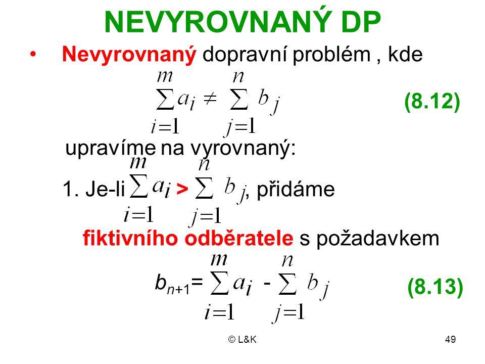 © L&K49 NEVYROVNANÝ DP Nevyrovnaný dopravní problém, kde upravíme na vyrovnaný: 1. Je-li, přidáme fiktivního odběratele s požadavkem b n+1 = - (8.12)