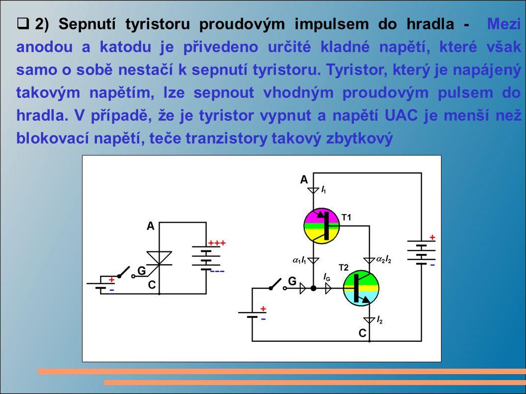  2) Sepnutí tyristoru proudovým impulsem do hradla - Mezi anodou a katodu je přivedeno určité kladné napětí, které však samo o sobě nestačí k sepnutí