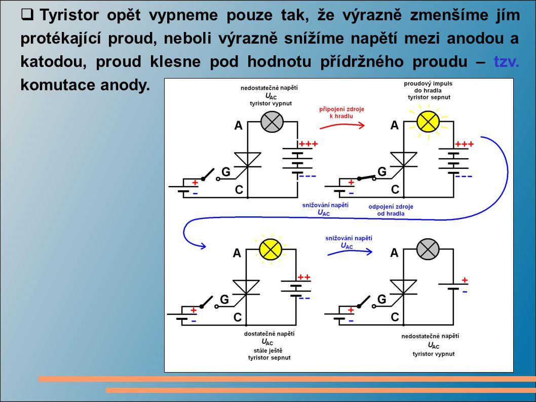  Tyristor opět vypneme pouze tak, že výrazně zmenšíme jím protékající proud, neboli výrazně snížíme napětí mezi anodou a katodou, proud klesne pod ho