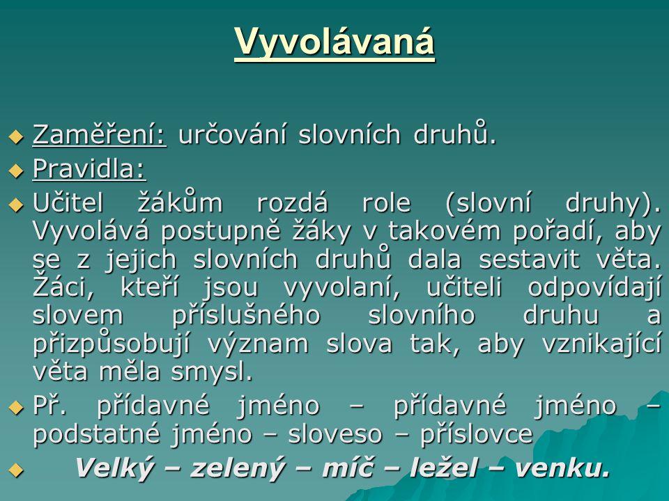 Vyvolávaná  Zaměření: určování slovních druhů.