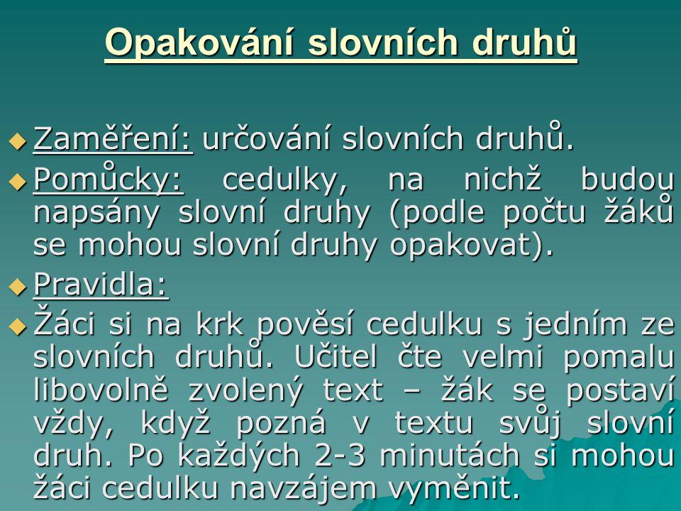 Opakování slovních druhů  Zaměření: určování slovních druhů.  Pomůcky: cedulky, na nichž budou napsány slovní druhy (podle počtu žáků se mohou slovn