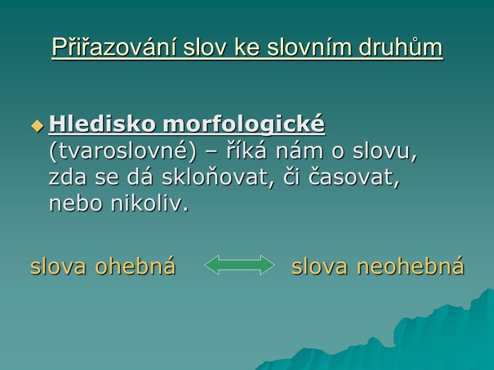 Přiřazování slov ke slovním druhům  Hledisko morfologické (tvaroslovné) – říká nám o slovu, zda se dá skloňovat, či časovat, nebo nikoliv. slova oheb