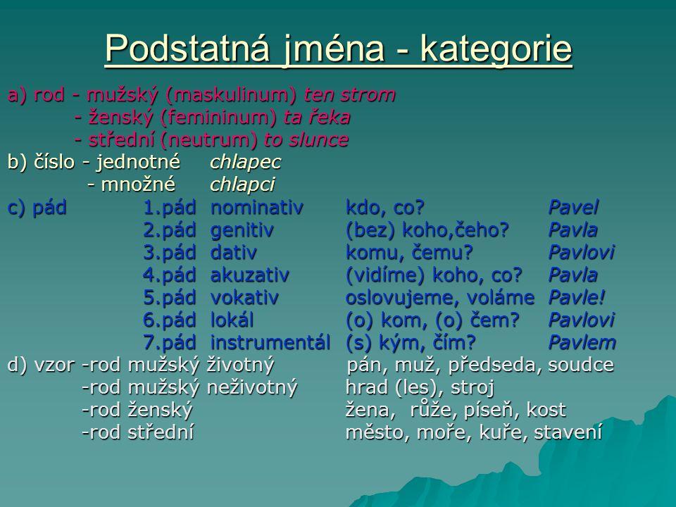 Podstatná jména - kategorie a) rod - mužský (maskulinum) ten strom - ženský (femininum) ta řeka - ženský (femininum) ta řeka - střední (neutrum) to sl