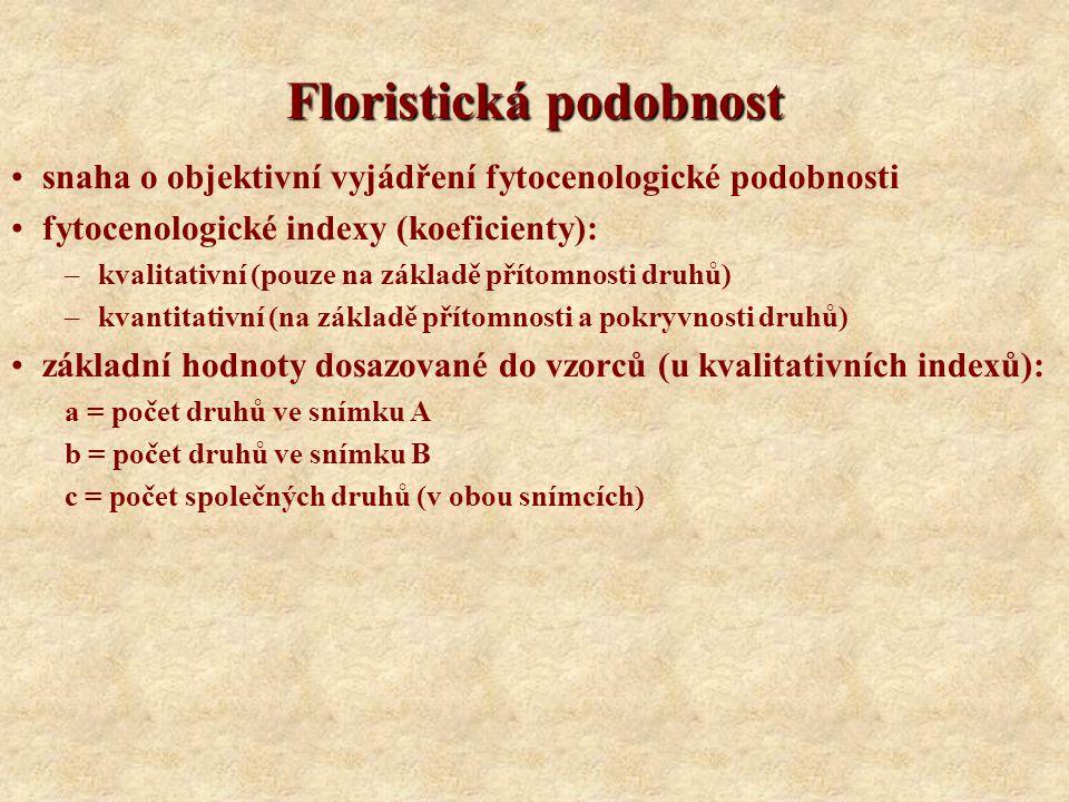 Floristická podobnost snaha o objektivní vyjádření fytocenologické podobnosti fytocenologické indexy (koeficienty): –kvalitativní (pouze na základě př