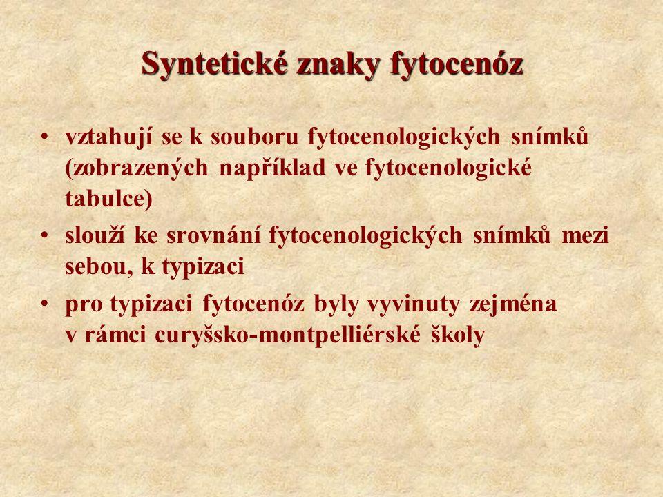 Syntetické znaky fytocenóz vztahují se k souboru fytocenologických snímků (zobrazených například ve fytocenologické tabulce) slouží ke srovnání fytoce
